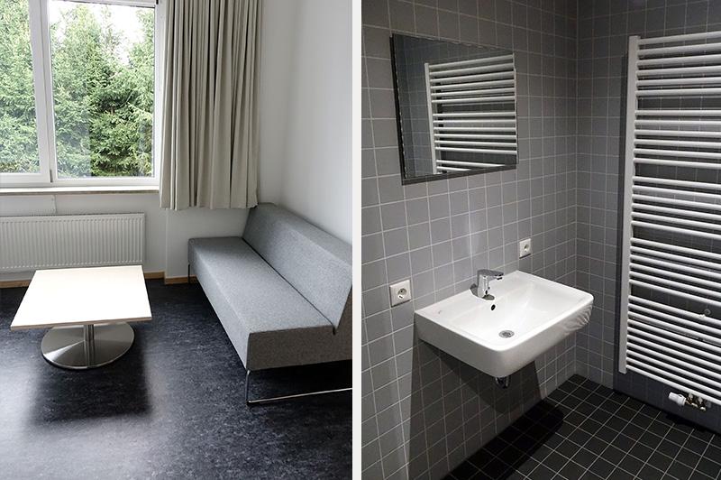 Badezimmer und Wohnraum im Kompetenzzentrum